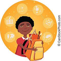 Elementary school student - Cartoon school boy with a...
