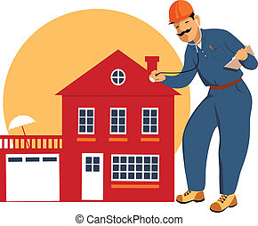 Home inspector - Building inspector examining a house with a...