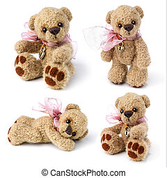 Teddy bear in classic vintage style isolated on white...