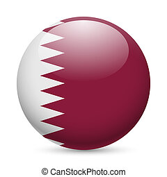 Round glossy icon of Qatar - Flag of Qatar as round glossy...