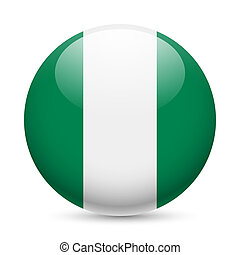Round glossy icon of Nigeria - Flag of Nigeria as round...