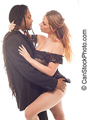 Young beautiful African American , mixed, couple in love