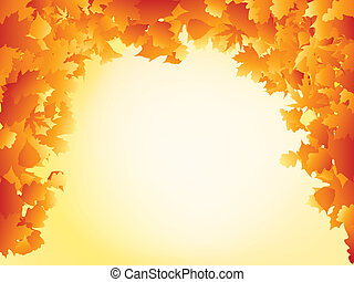 Orange autumn leaves frame design. EPS 8 vector file...