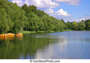 Lake at the park, yaroslavl, russia