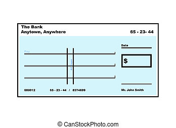 Blank American Cheque illustration with copy space, isolated...