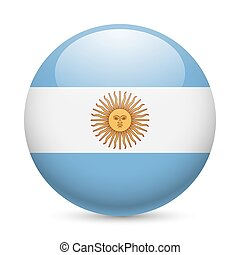 Round glossy icon of Argentina - Flag of Argentina as round...