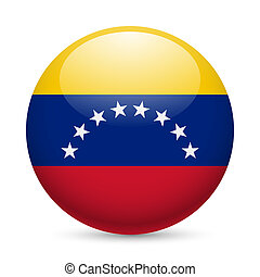 Round glossy icon of Venezuela - Flag of Venezuela as round...