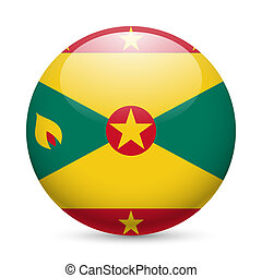 Round glossy icon of Grenada - Flag of Grenada as round...