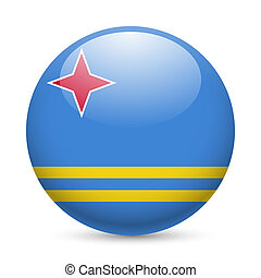 Round glossy icon of Aruba - Flag of Aruba as round glossy...