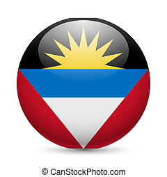 Round glossy icon of Antigua and Barbuda - Flag of Antigua...