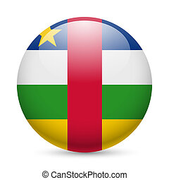 Round glossy icon of Central African Republic - Flag of...