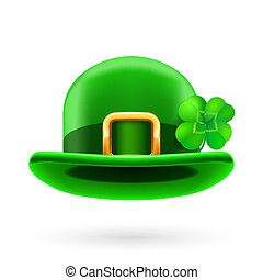 Green bowler hat decorated with clover - Green bowler hat...