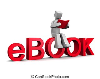 3d man sitting on ebook word reading a red book isolated...