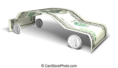 Cost of a car - concept of the cost of a car isolated on a...
