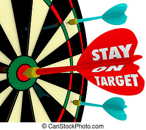 Stay on Target Words Dart Board Focus Goal Mission Achieved...