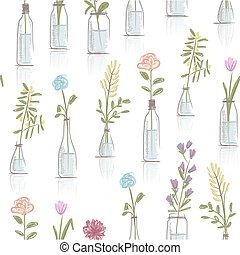 Seamless pattern design with floral pots
