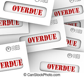 overdue, contas, pilha, envelopes, tarde, pagamento,...