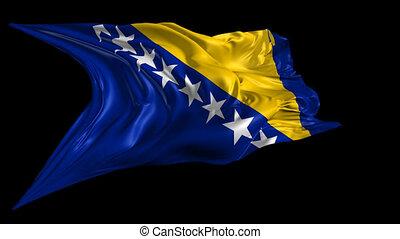Flag of Bosnia and Herzegovina - Beautiful 3d animation of...