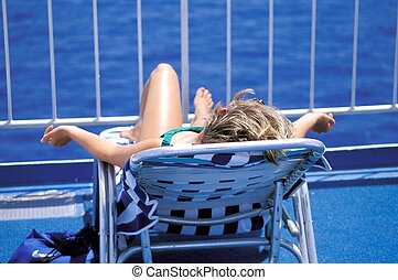Cruise vacation. - Female beauty relaxing outside on a...
