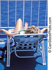 Cruise vacation - Female beauty relaxing outside on a cruise...