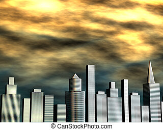 Sunset and buildings illustration 3d illustration