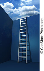 Staircase to freedom 3d rendered illustration