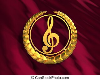 Golden treble clef. 3D Scene.