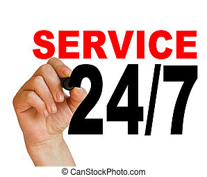 24/7 service - writing words ' 24/7 service ' on white...