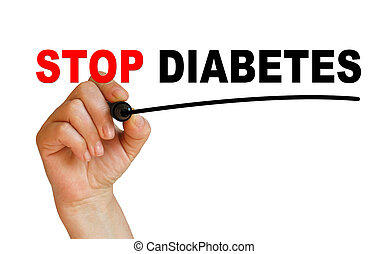 STOP DIABETES - writing words STOP DIABETES on white...