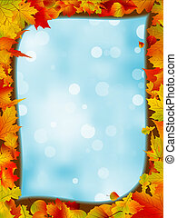 Autumn leaves with background of blue sky. EPS 8