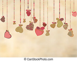 Vintage card with valentines hearts. EPS 8