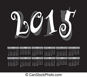 Year 2015 Two Tone Color Calendar Vector.
