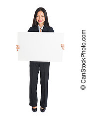 a portrait of asian business woman taking blank whiteboard...