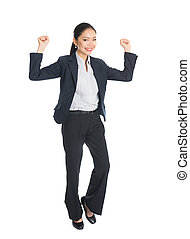 asian business woman celebrating success full body