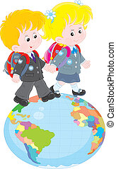 Schoolchildren going on a globe - Schoolgirl and schoolboy...