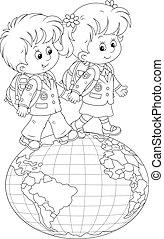 Schoolchildren going on a globe - Schoolgirl and schoolboy...