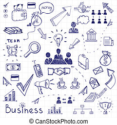 Business doodles - Vector business doodles seamless pattern...