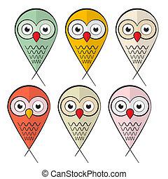 Owls Set Illustration Isolated on White Background