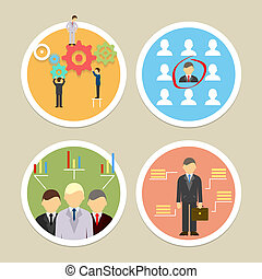 Vector human resources icons. Selecting business...