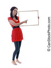 woman holding blank board