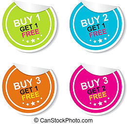 Sticker or Label For Marketing - Campaign, Buy 1 Get 1 Free,...