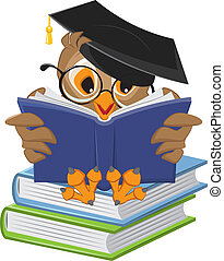 Wise owl reading book. Illustration in vector format