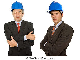 workers - two workers isolated in a white, focus on the left...