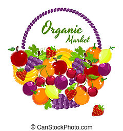 Organic Market colorful vector poster design with vibrant...
