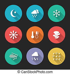 Set of meteorological icons on colorful round web buttons...
