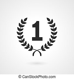 Black winner icon or number 1 sign - Black vector silhouette...