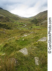 Nant Ffrancon Pass, from Ogwen Cottage - Landscape looking...