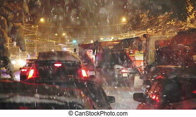 Road Collapse due to Blizzard - Snowplows stuck in a traffic...