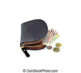 black wallet with Thai Baht Currency on the white background