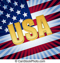 USA letters with shining american flag - USA - 3d golden...